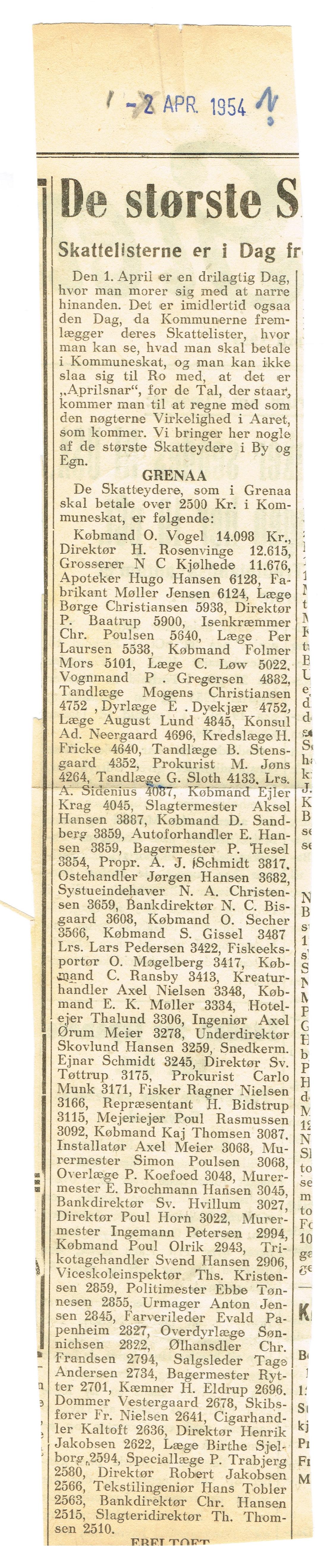 Skatteliste 1954