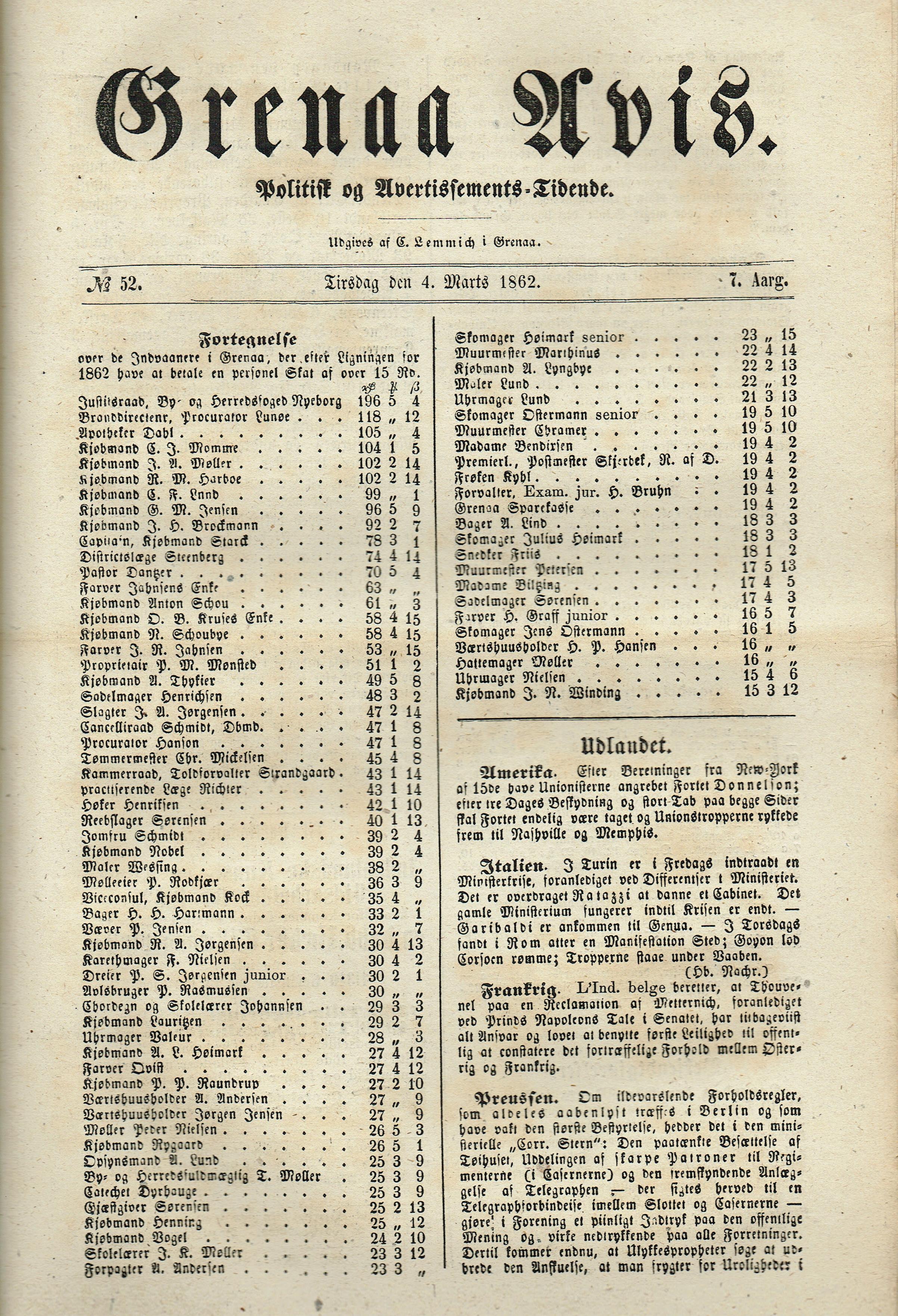 Skatteliste 1862